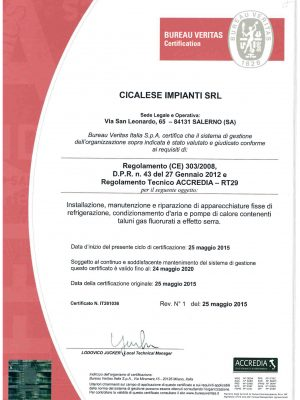 Cicalese Impianti Srl_ISO Reg. 303 FGas